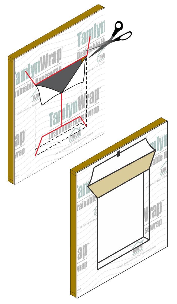 How to install window flashing tape - Flashing Openings Modified I Method